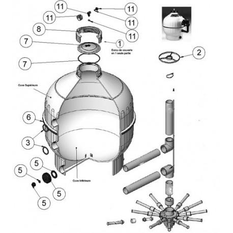 image: Couvercle + joint de filtre CANTABRIC 400 500 600 750