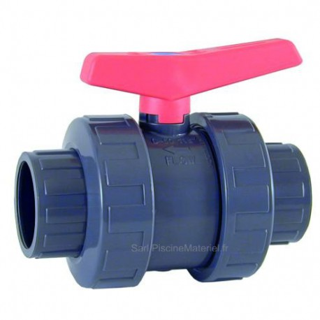 image: Vanne à boisseau Astral Cepex - double union à coller 75 mm PN16