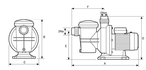Plan coté de la pompe Espa Silver